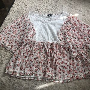 Torrid Floral Blouse with Lace Detailing
